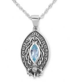 Celtic Silver Pendant 'Scotland Forever' with Blue Topaz 9436